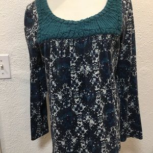 95% Cotton Blouse w/Turquoise Top Stitched Design